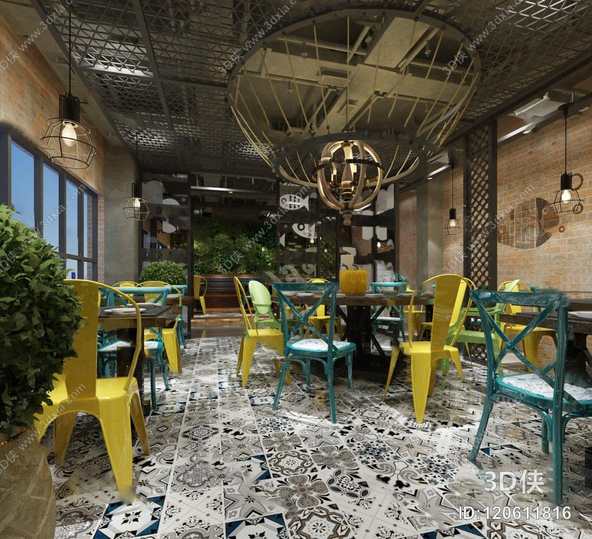 工业风餐厅3D模型
