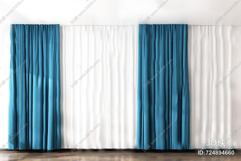 现代窗帘3D模型