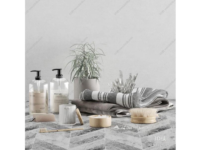 现代沐浴露毛巾洗浴用品3d模型