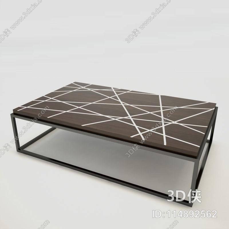 现代棕色长方形铁艺板式茶几3d模型【id:114892562】