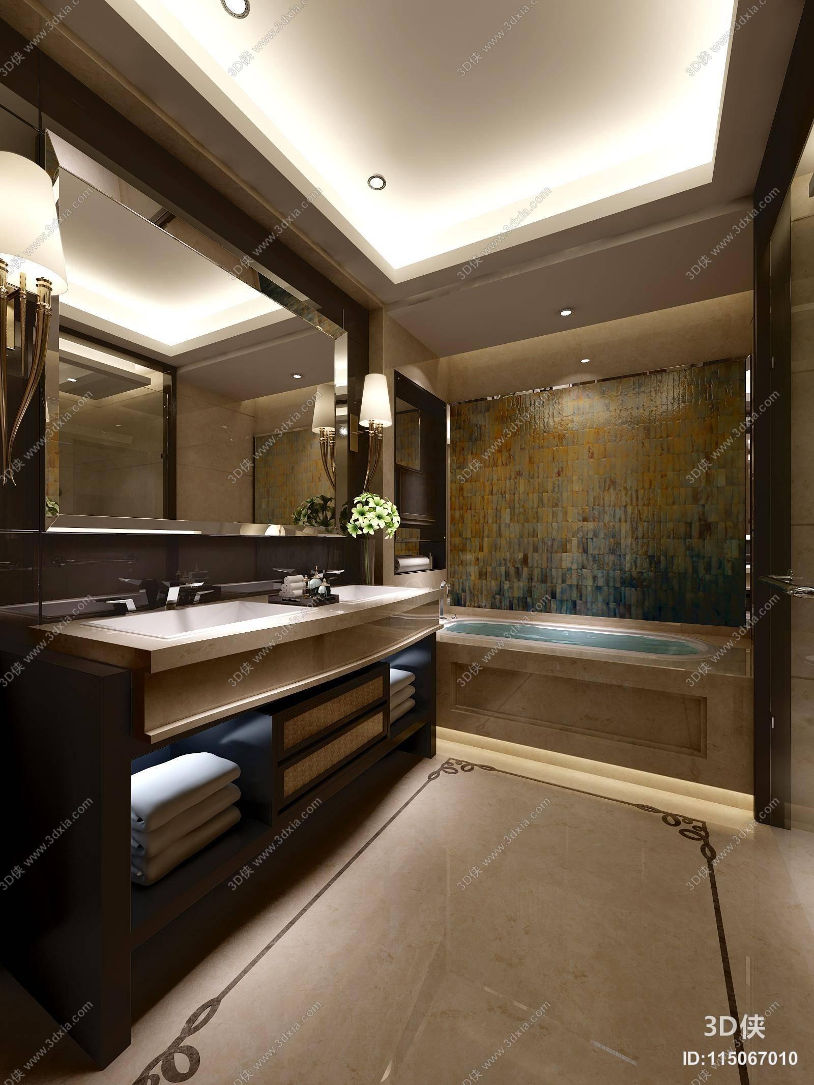 现代棕色木艺浴室柜,编号是115067010,格式是max 2010,建议使用3dmax