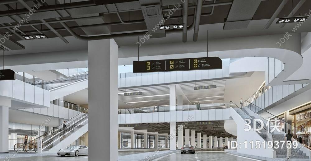 商场大厅效果图素材免费下载,本作品主题是现代商场过道 指示牌 现代