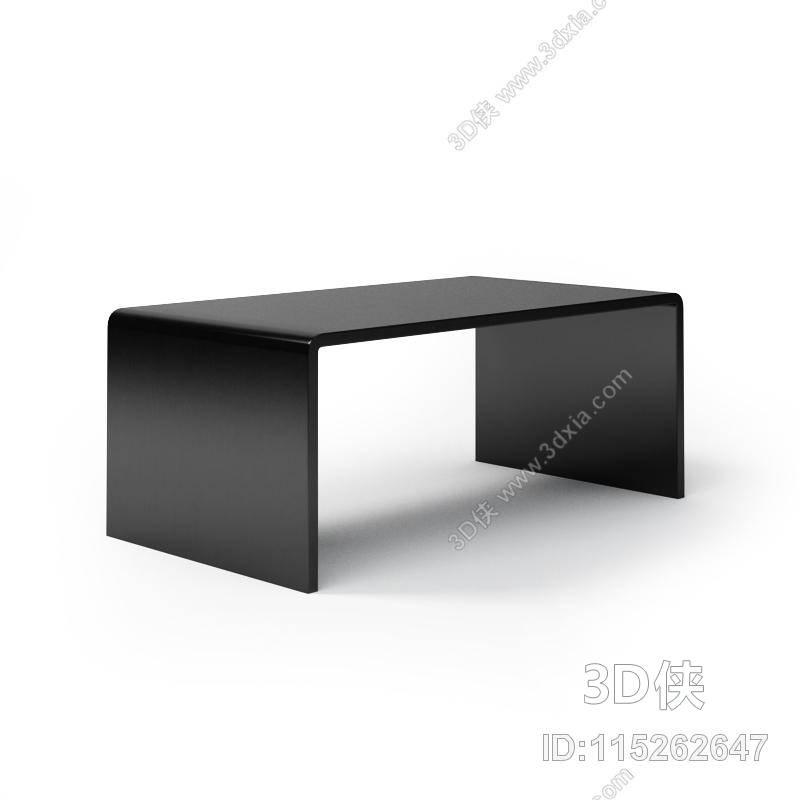 现代黑色长方形塑料家居茶几3d模型【id:115262647】