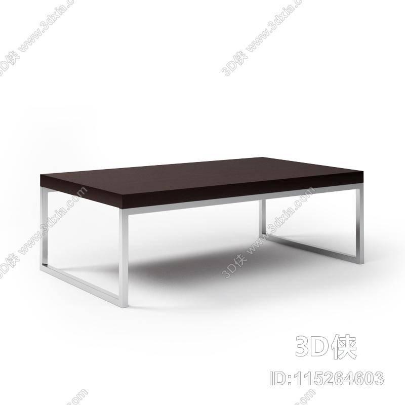 现代棕色长方形木艺家居茶几3d模型【id:115264603】