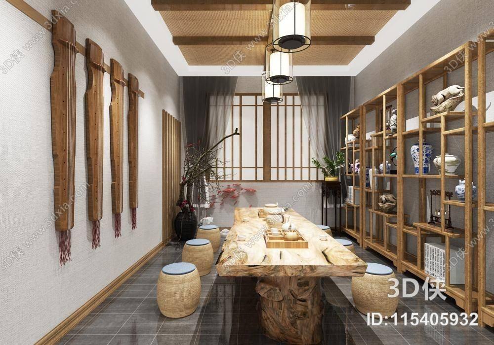 茶室中式常用3D模型室内设计禅意家电尺寸图片