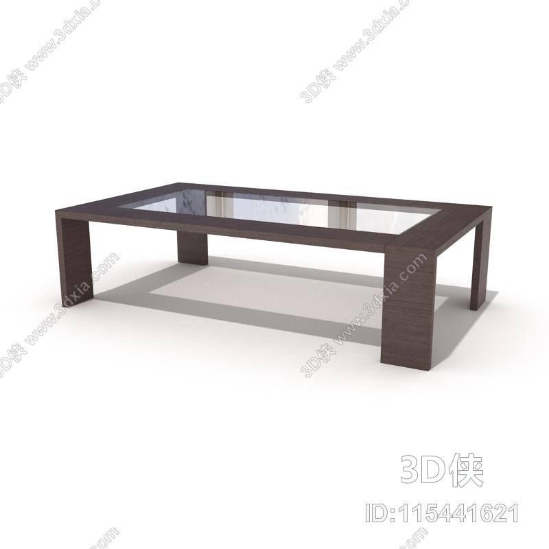 现代棕色长方形木艺家居茶几3d模型【id:115441621】