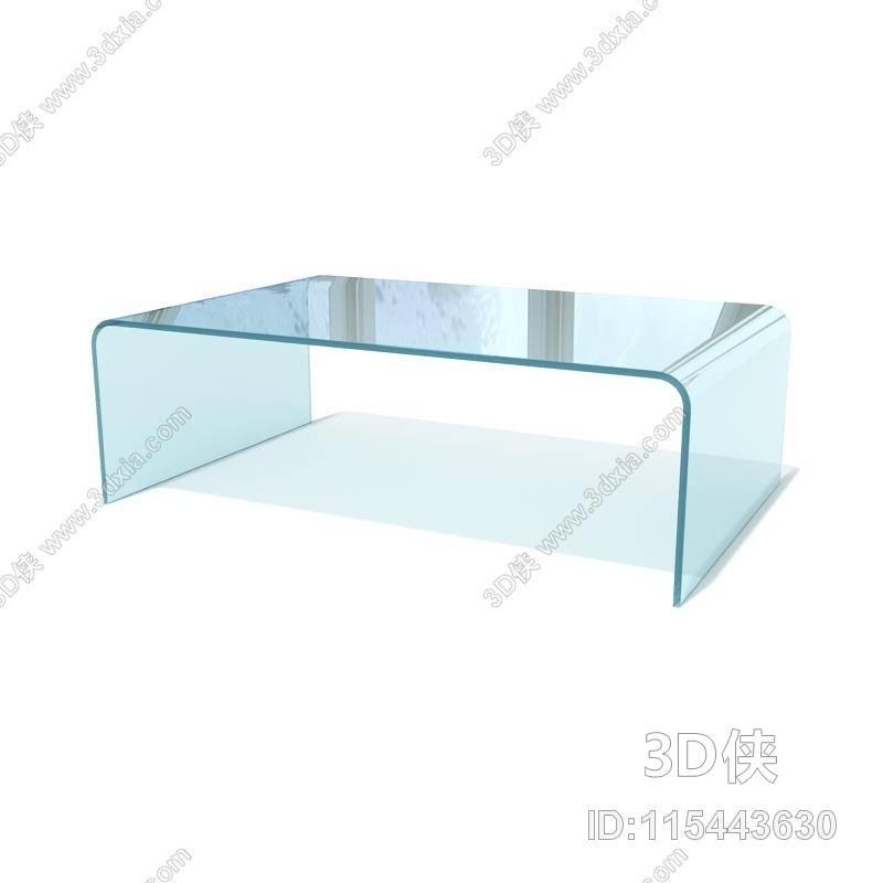 现代长方形玻璃家居茶几3d模型【id:115443630】