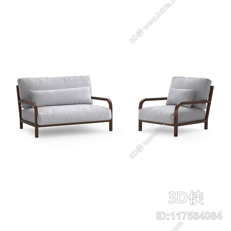 组合沙发效果图素材免费下载,本作品主题是现代灰色布艺组合沙发,编号