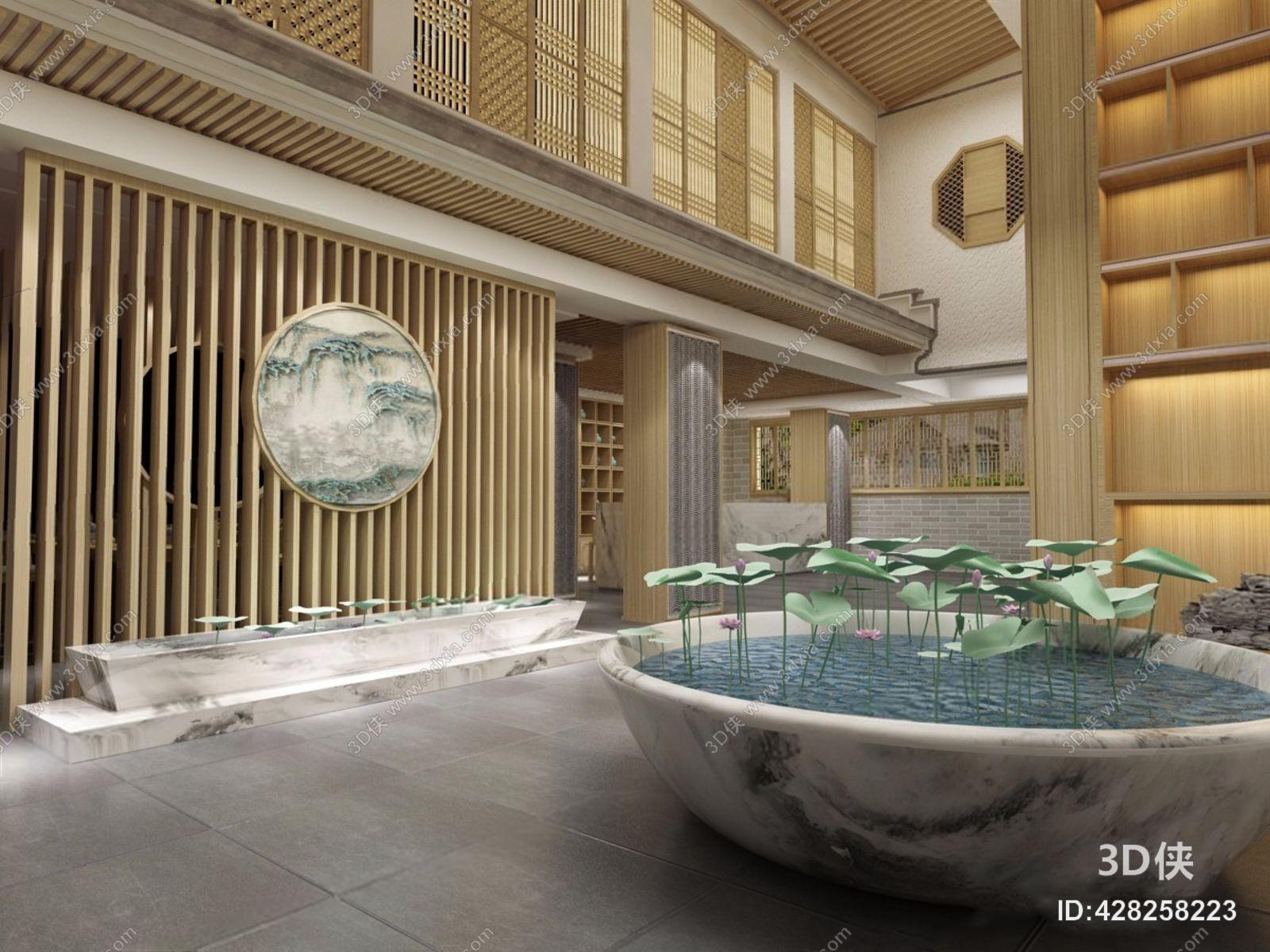 新中式接待大厅3d模型下载【id:428258223】图片