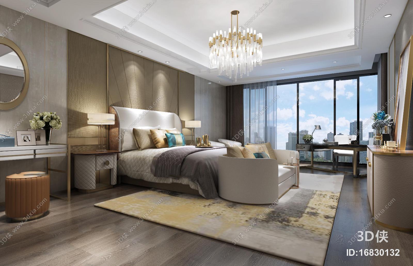效果圖素材免費下載,本作品主題是現代輕奢臥室3d模型,編號是16830132