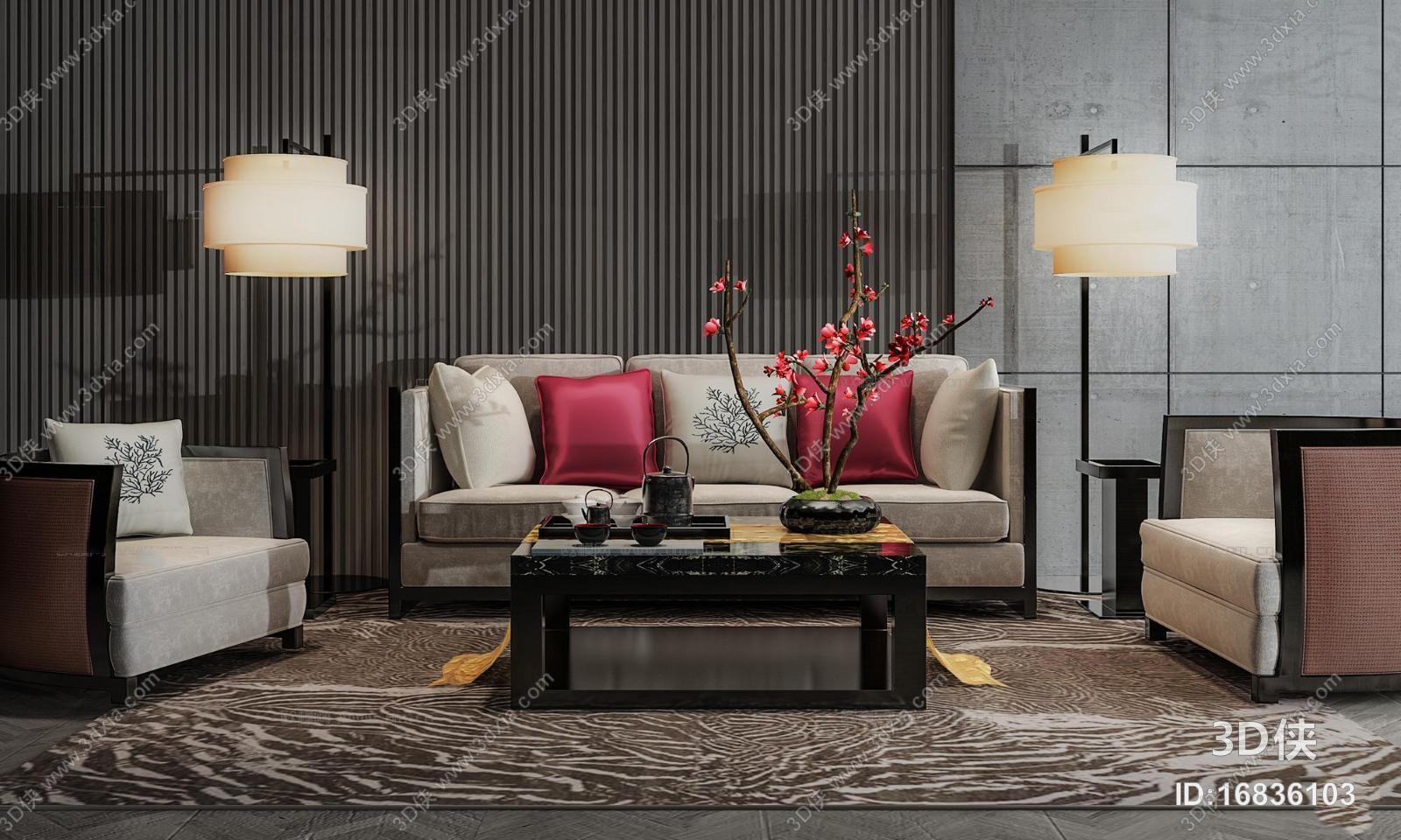 新中式沙发茶几组合3d模型【id:16836103】图片