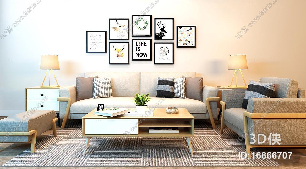 现代北欧沙发茶几装饰画组合3D模型