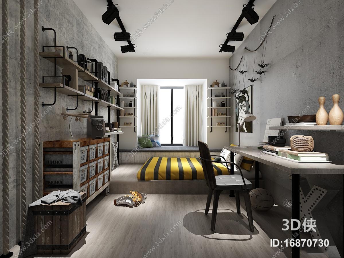 现代工业风卧室空间3D模型