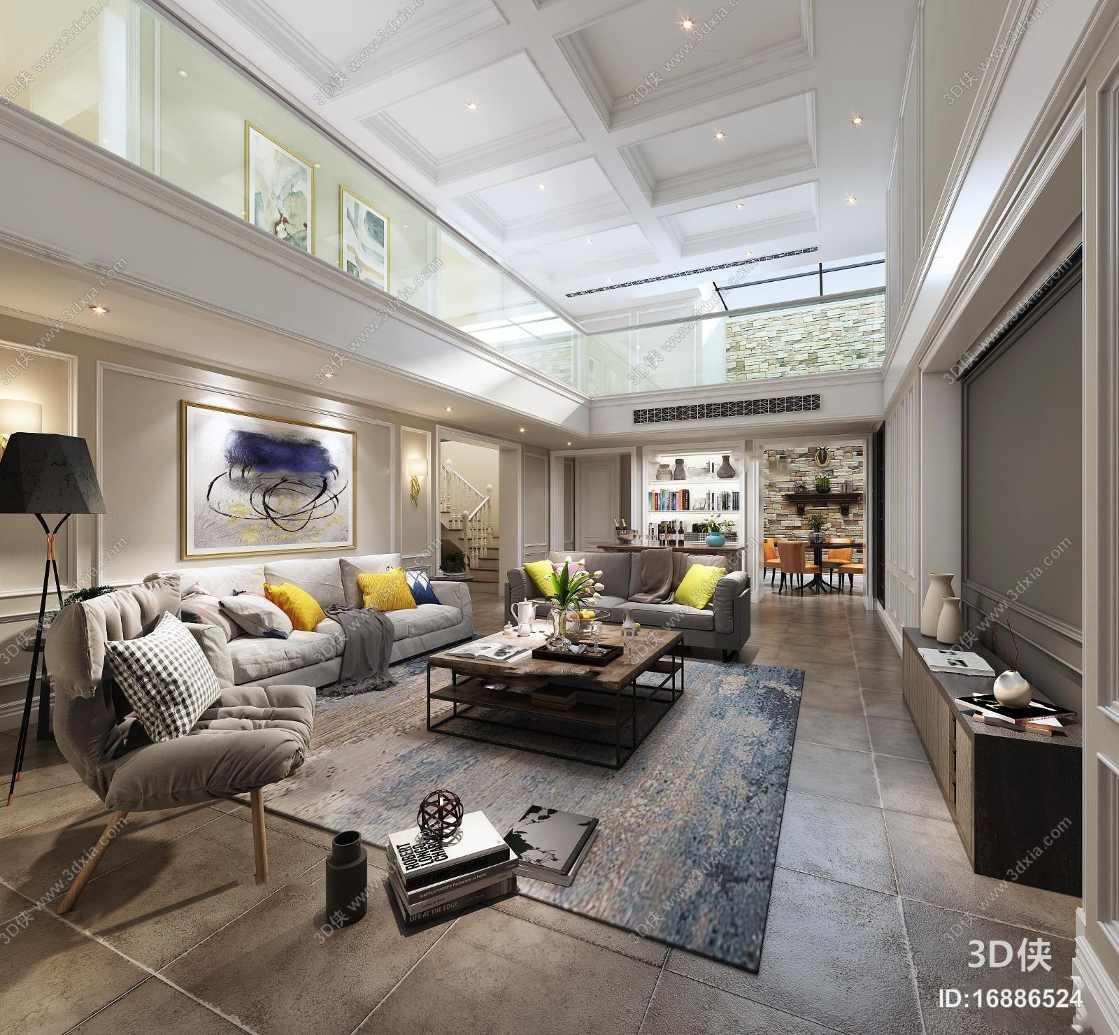 现代风格 效果图素材免费下载,本作品主题是现代复式楼客厅空间3d模型