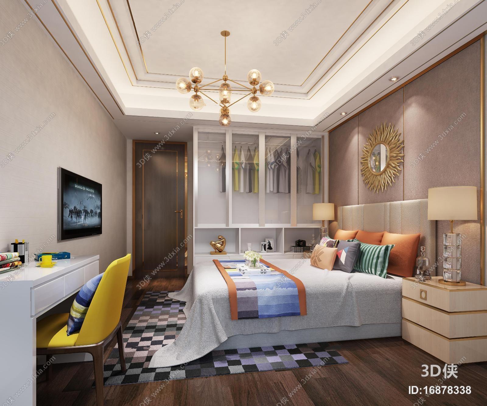 现代卧室空间3D模型