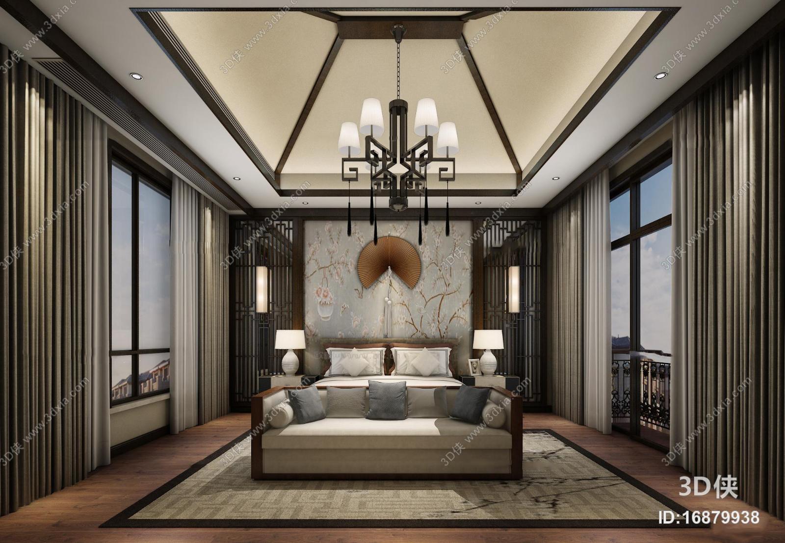 中式卧室空间3D模型