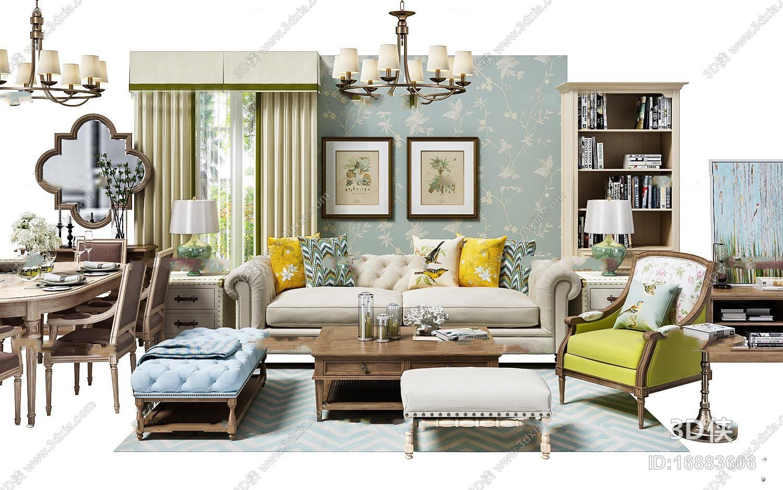 简约美式沙发休闲椅餐桌椅吊灯挂画软装配饰组合3D模型