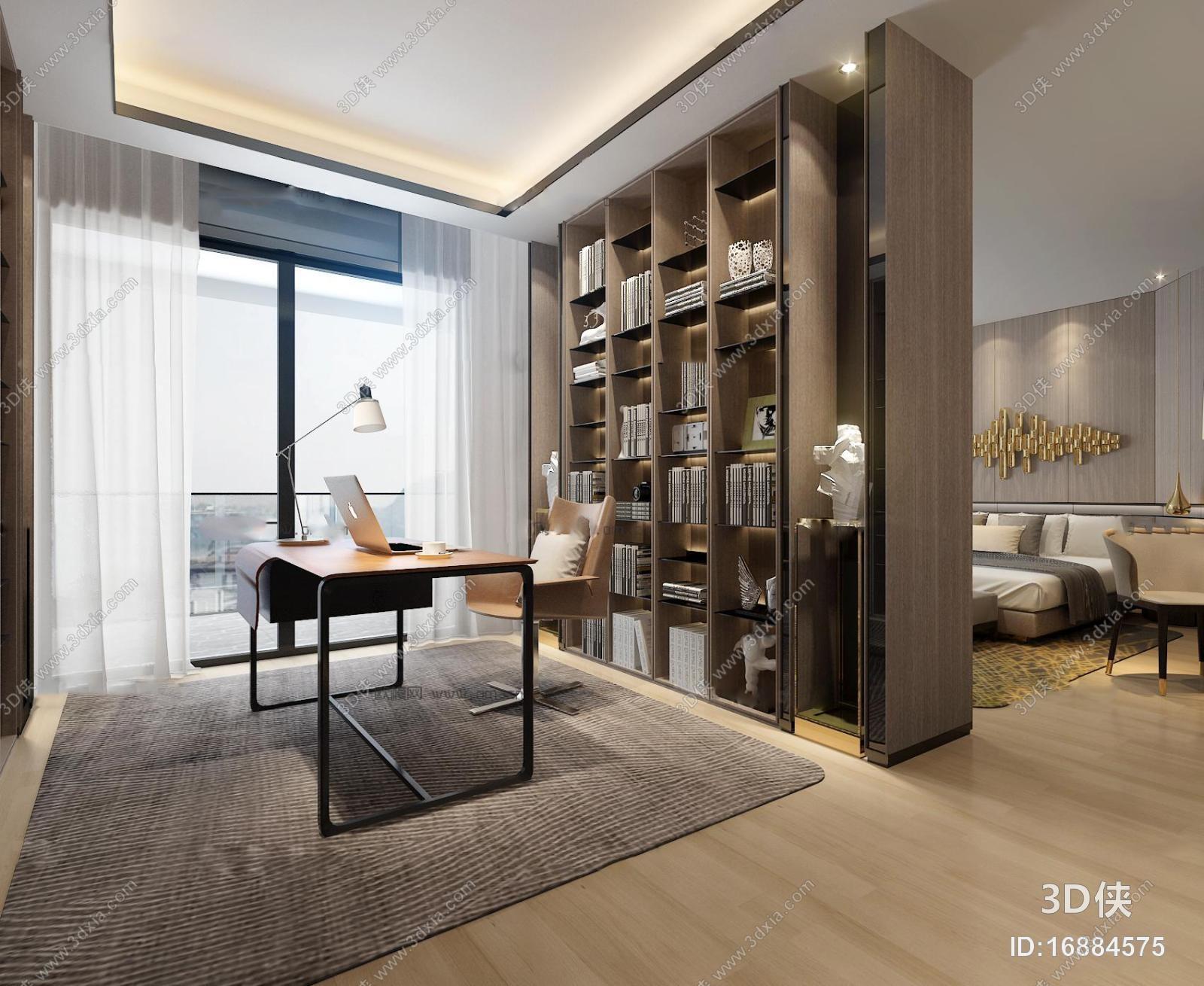 现代书房卧室空间3D模型