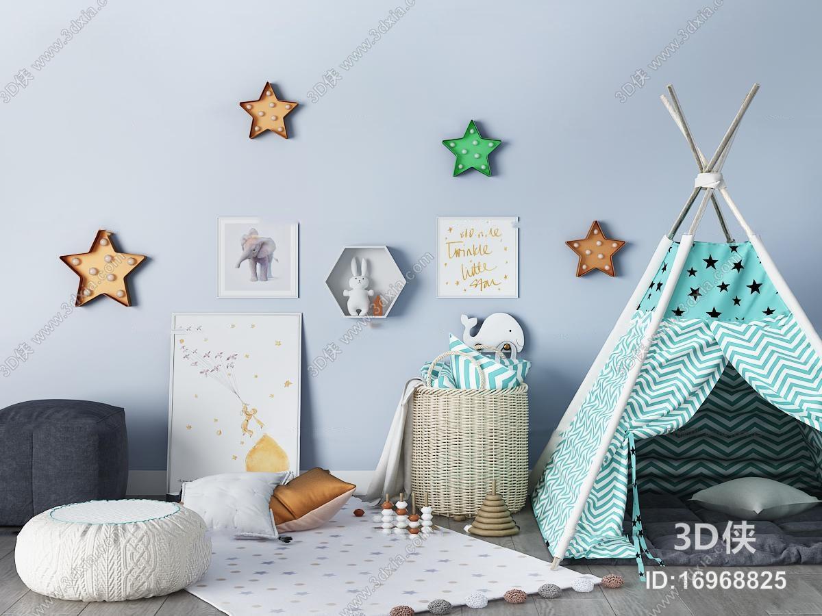 北欧儿童房帐篷玩具卧室3d模型【id:16968825】
