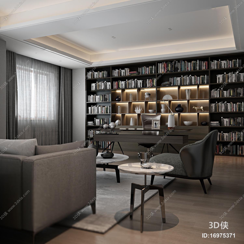 现代书房洽谈室接待室3D模型