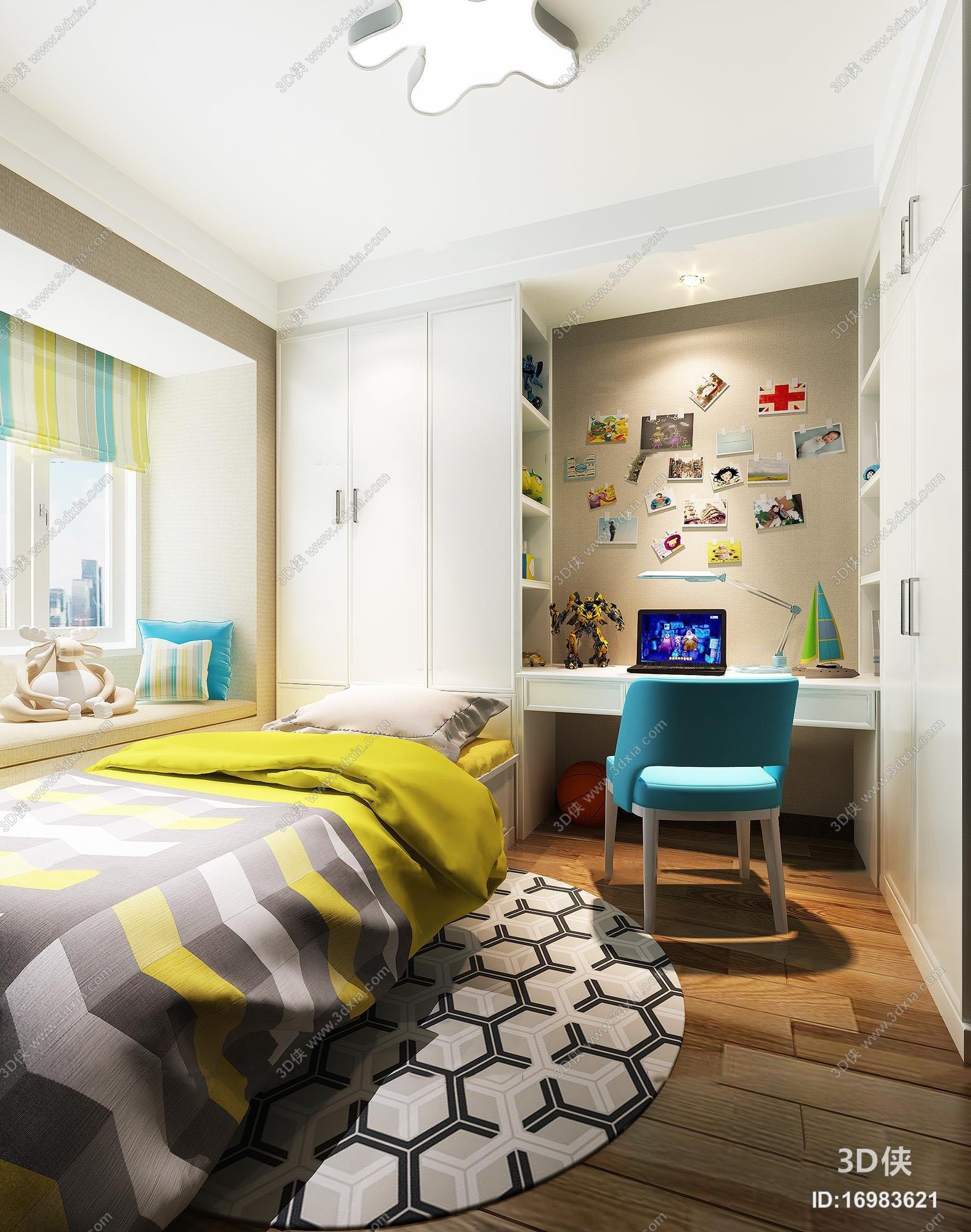 现代榻榻米卧室儿童房3d模型【id:16983621】