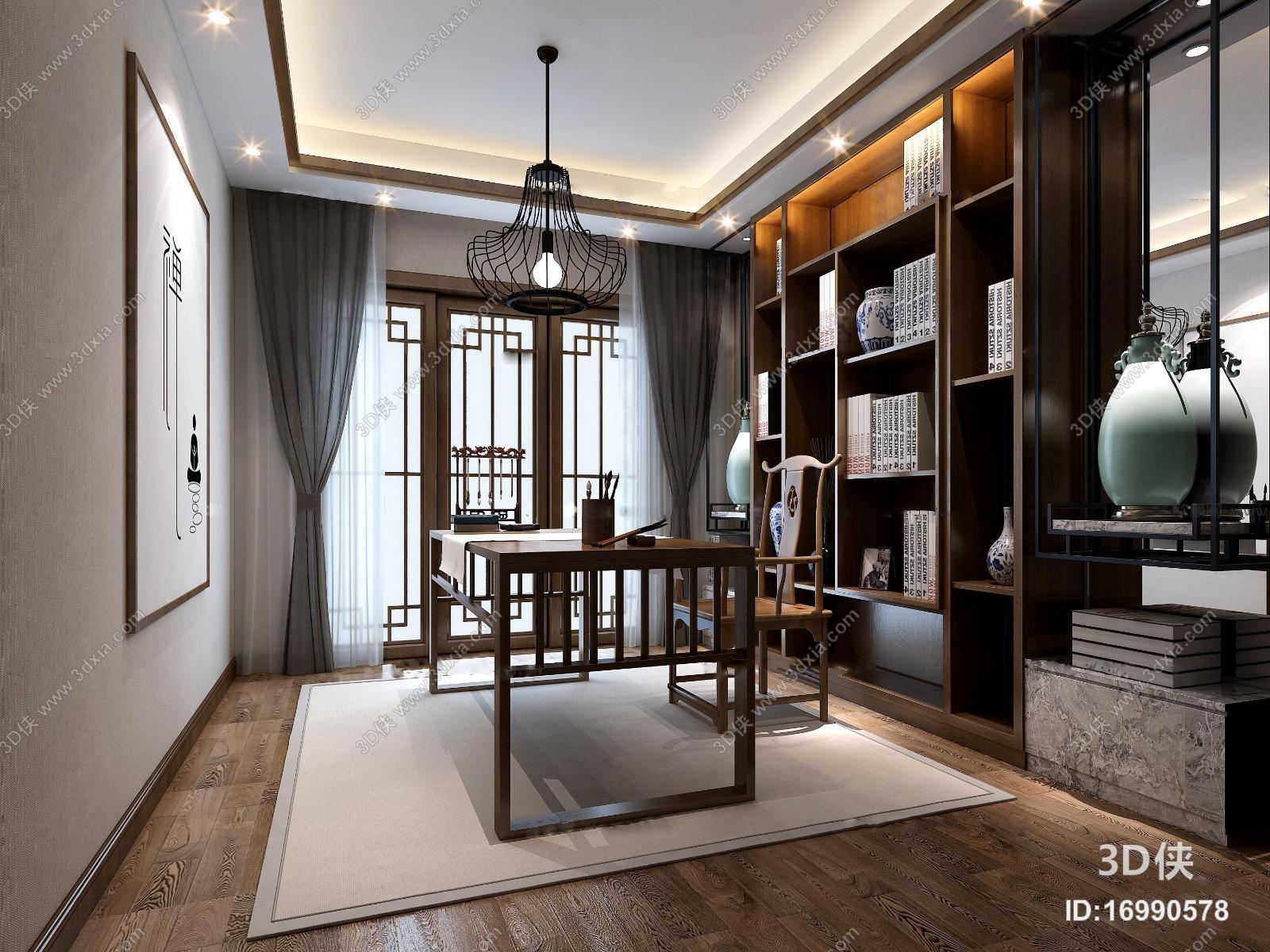 新中式书房3D模型