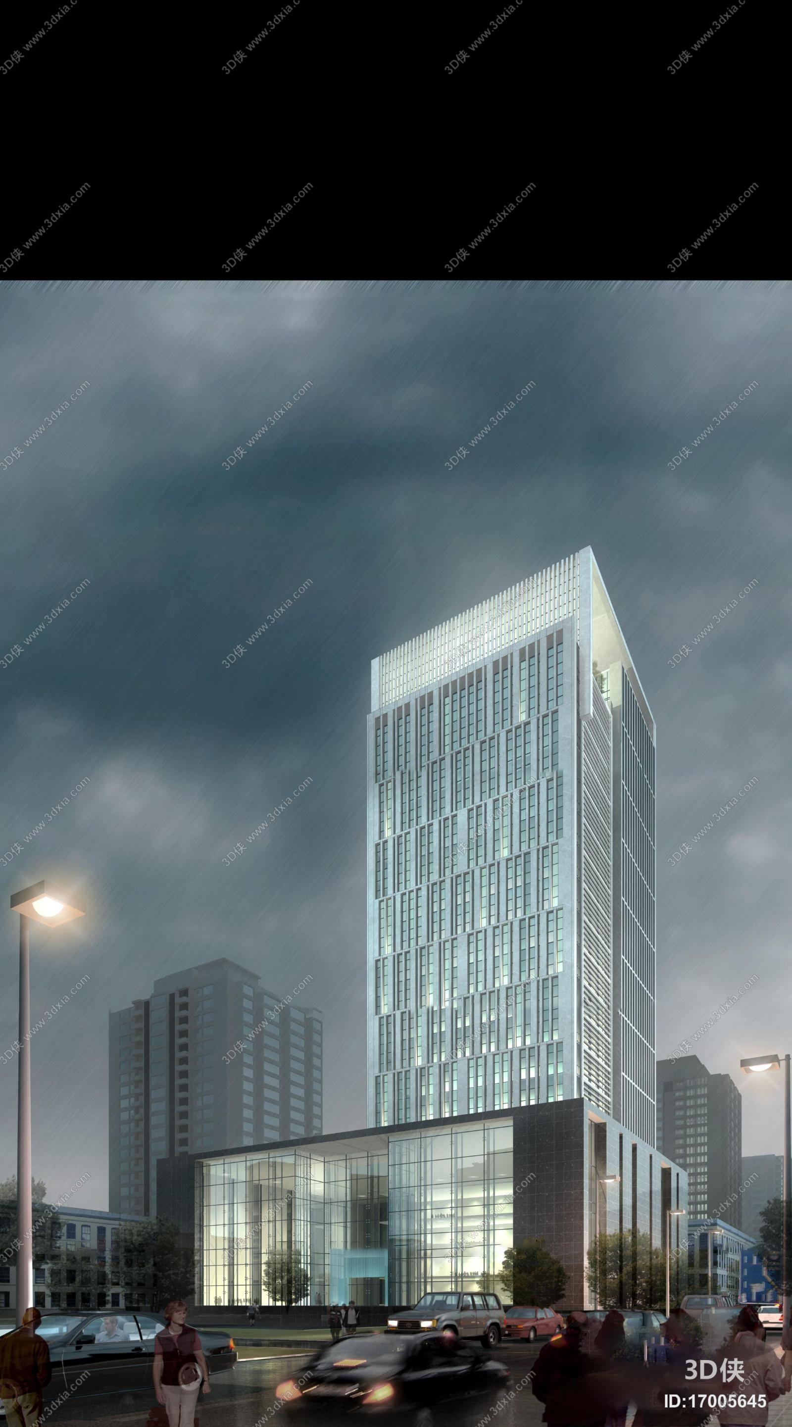 效果图素材免费下载,本作品主题是现代建筑外观3d模型,编号是17005645