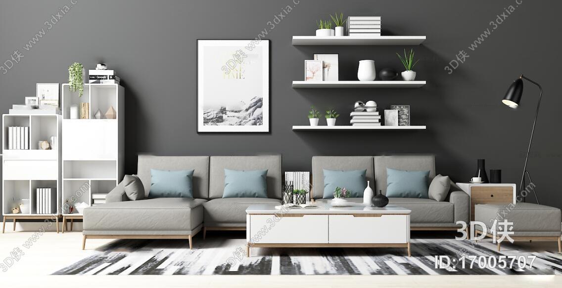 现代布艺沙发边柜装饰画摆件茶几组合3D模型