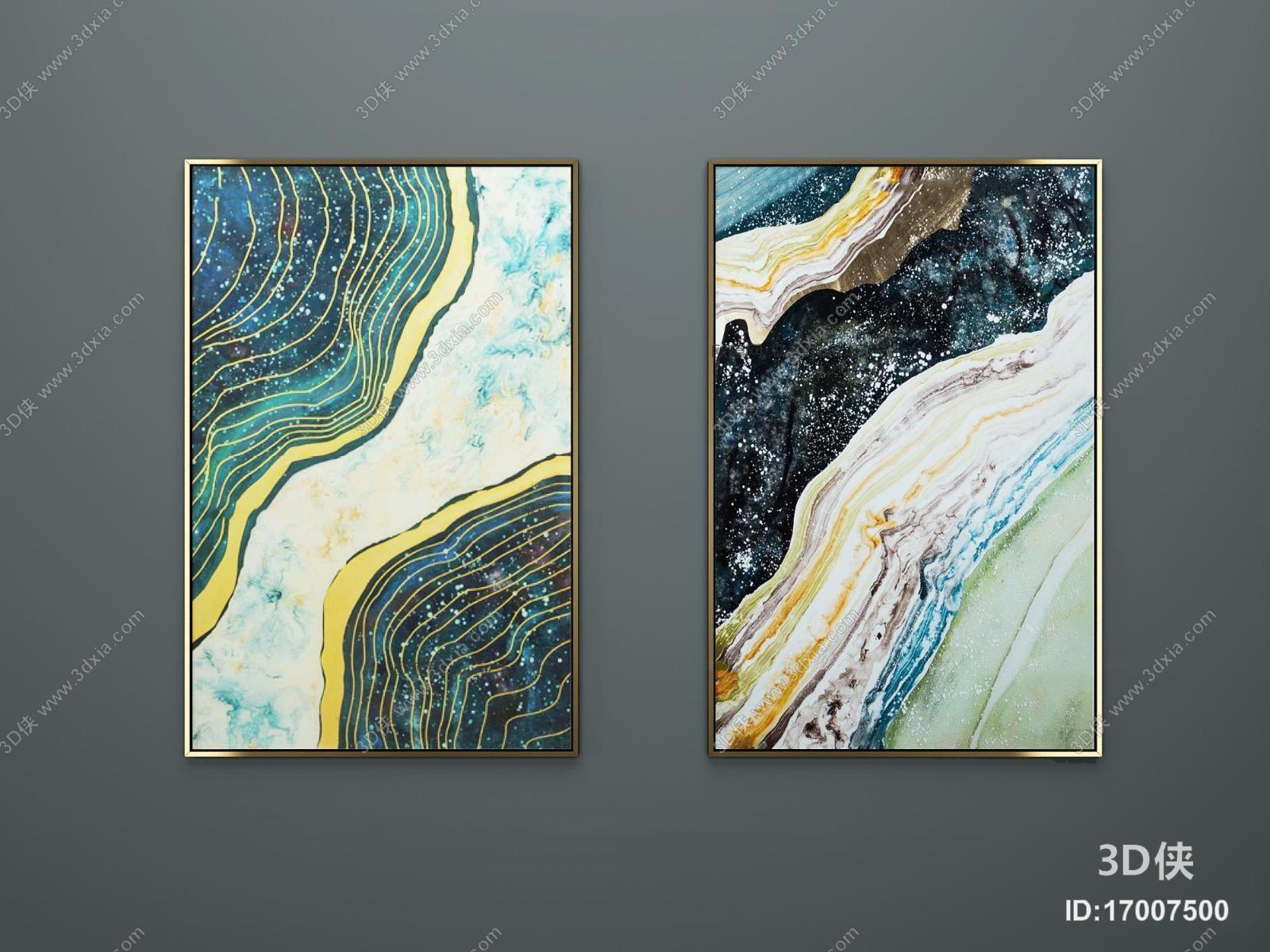 现代手绘钢化玻璃裂彩画3d模型【id:17007500】图片