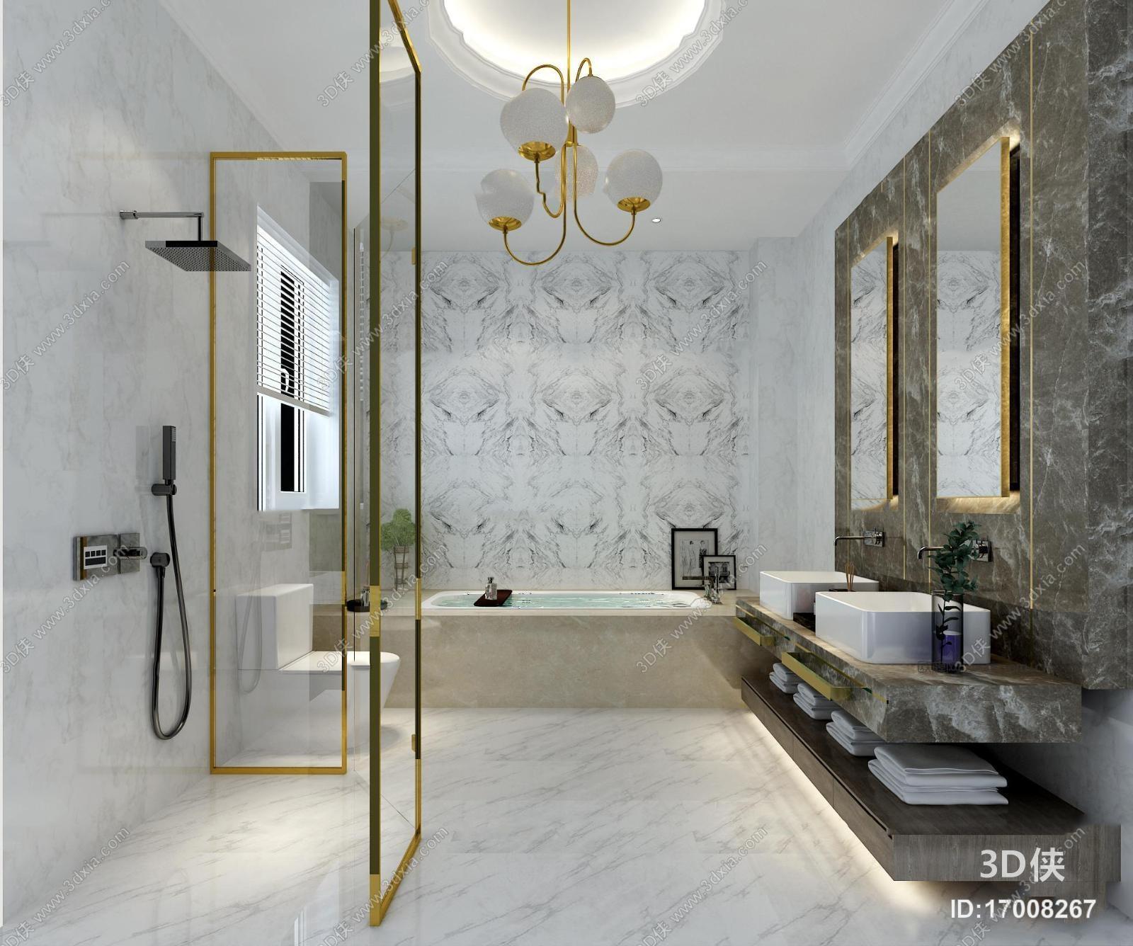 现代卫浴空间起居室3D模型