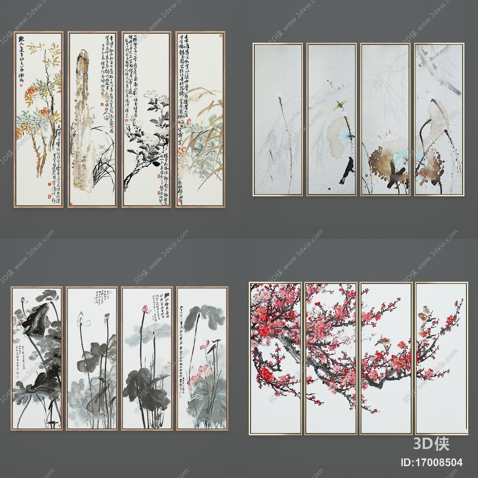 陈设 墙绘 挂画 新中式梅兰竹菊水墨装饰画组合3d模型【id:17008504】