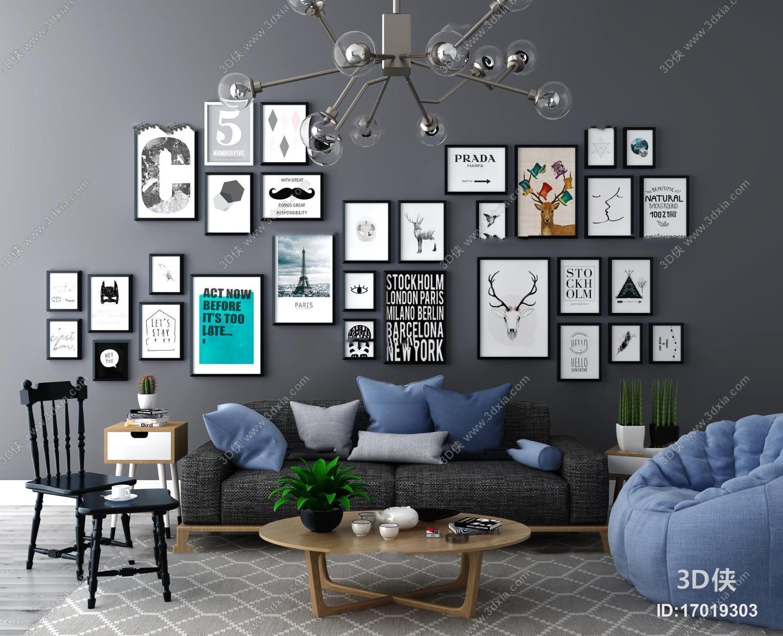 组合沙发效果图素材免费下载,本作品主题是北欧沙发单椅装饰画组合3d