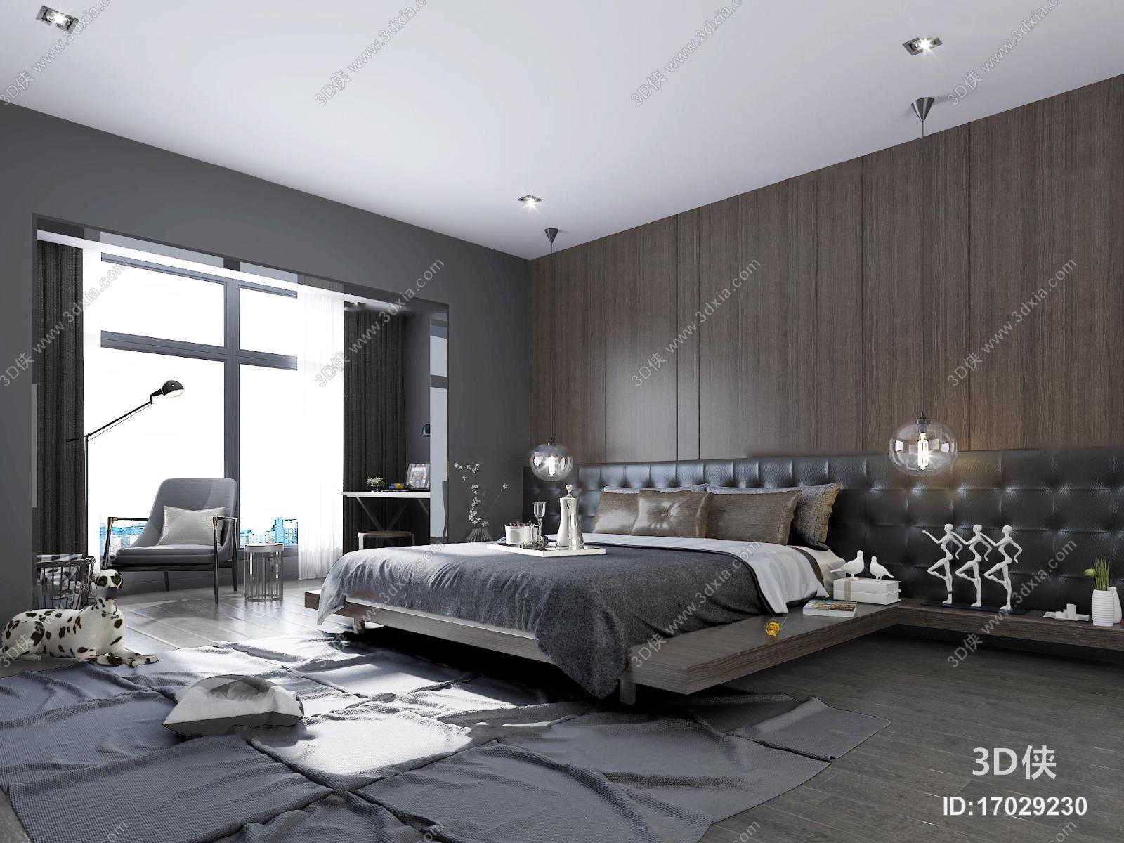 现代 卧室主人房3D模型