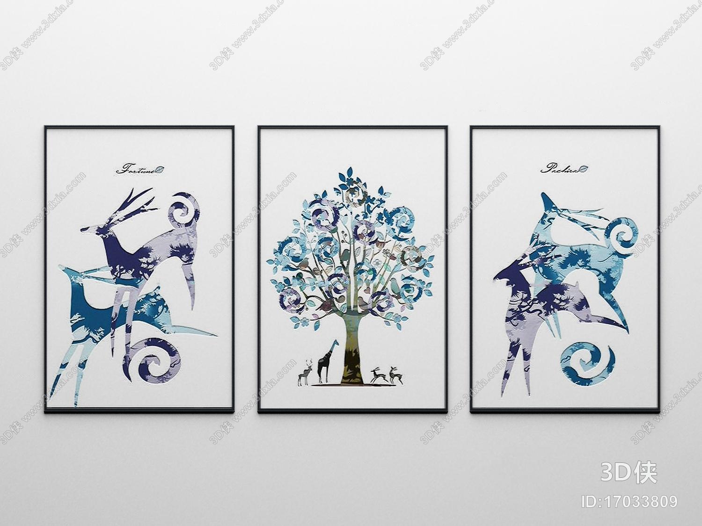挂画效果图素材免费下载,本作品主题是北欧动物麋鹿装饰画3d模型,编号