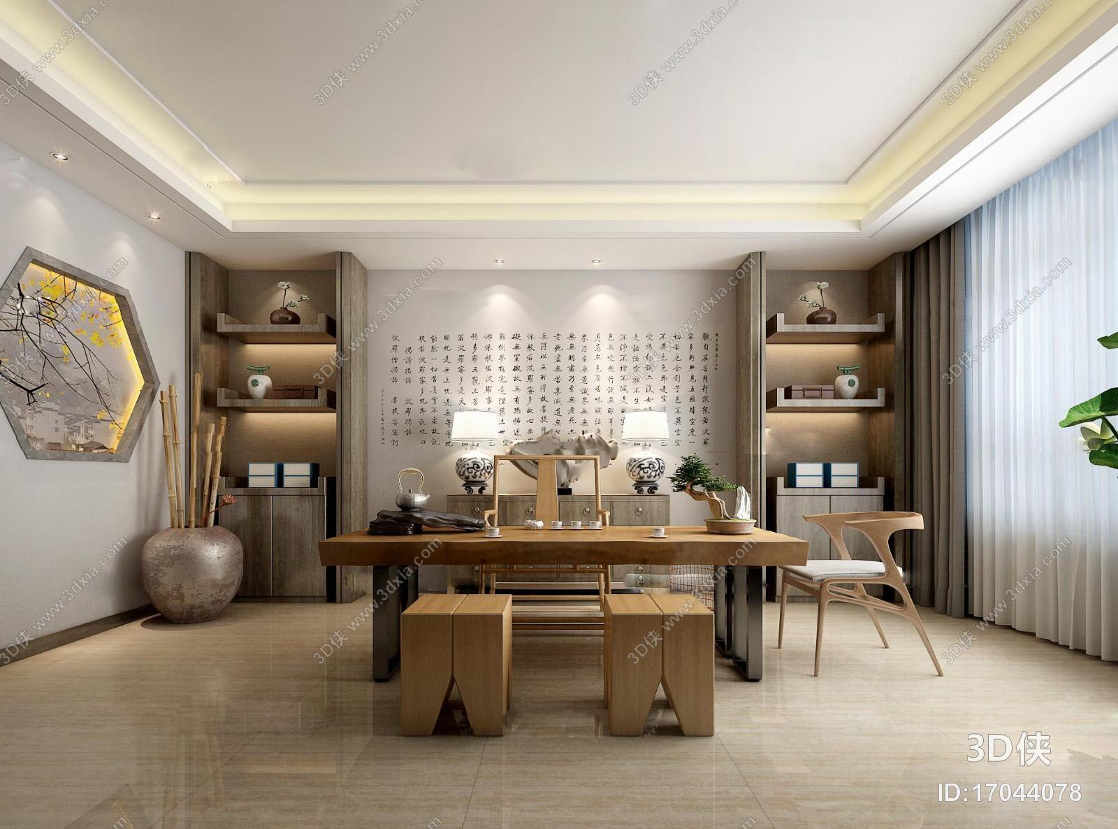 其它綜合效果圖素材免費下載,本作品主題是新中式書房茶室3d模型,編號
