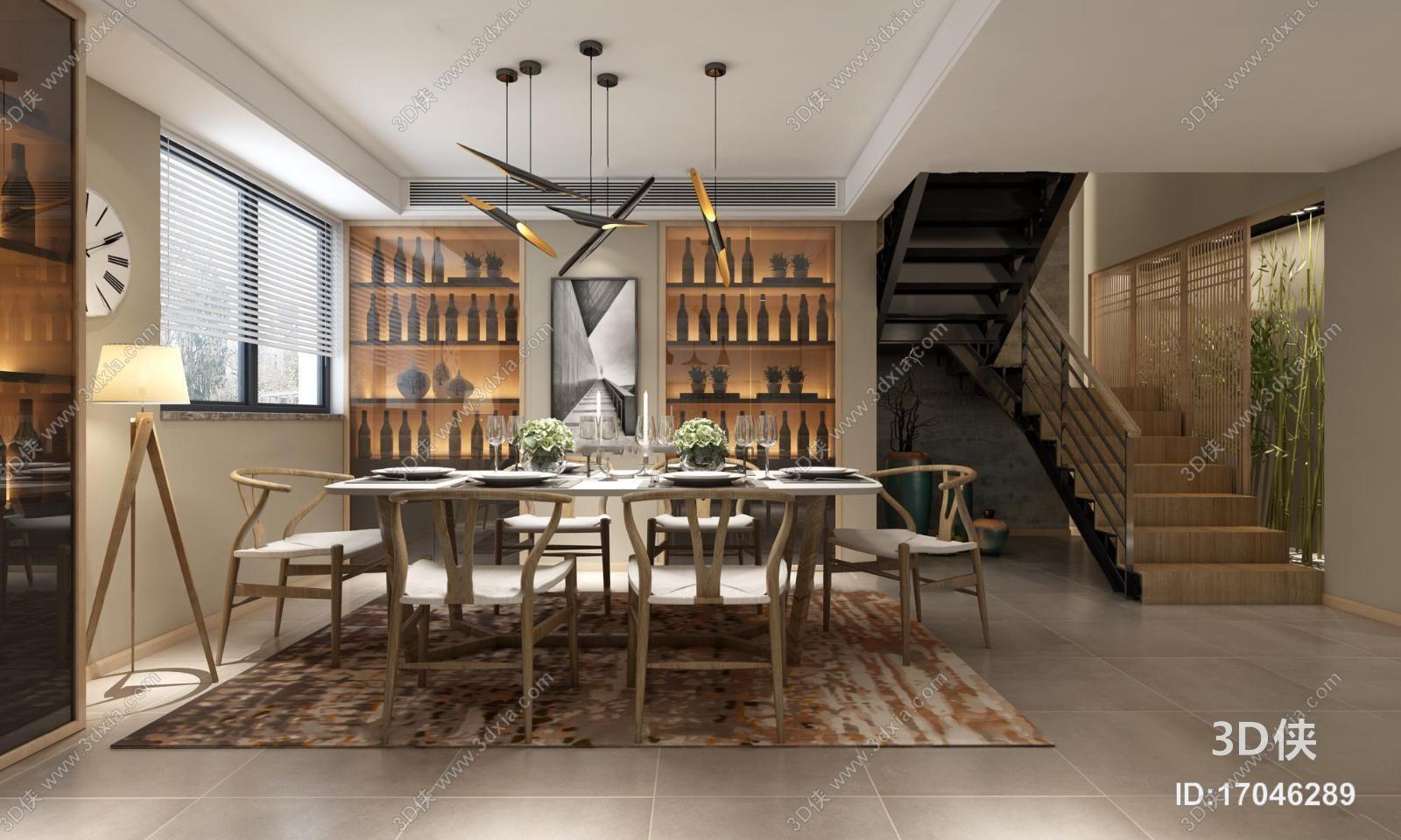 新中式复式餐厅3D模型