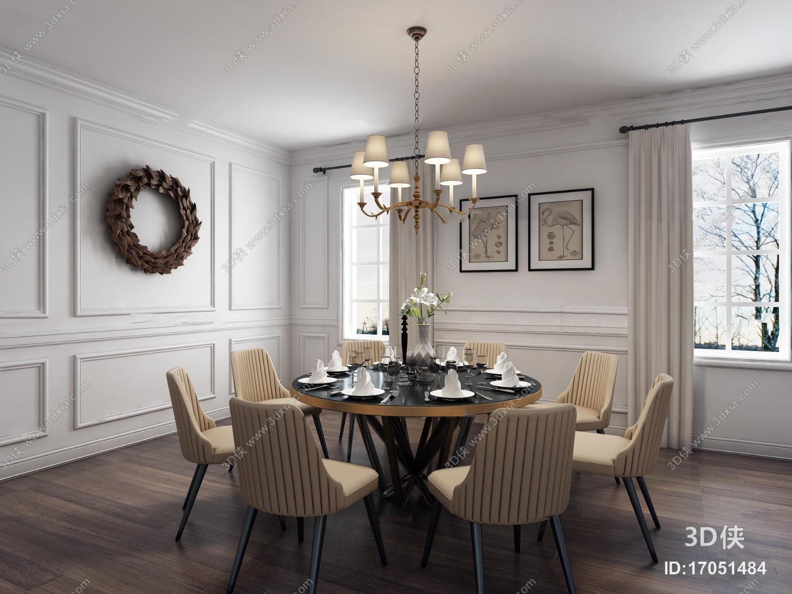 简欧餐厅圆形餐桌椅餐具吊灯组合3D模型
