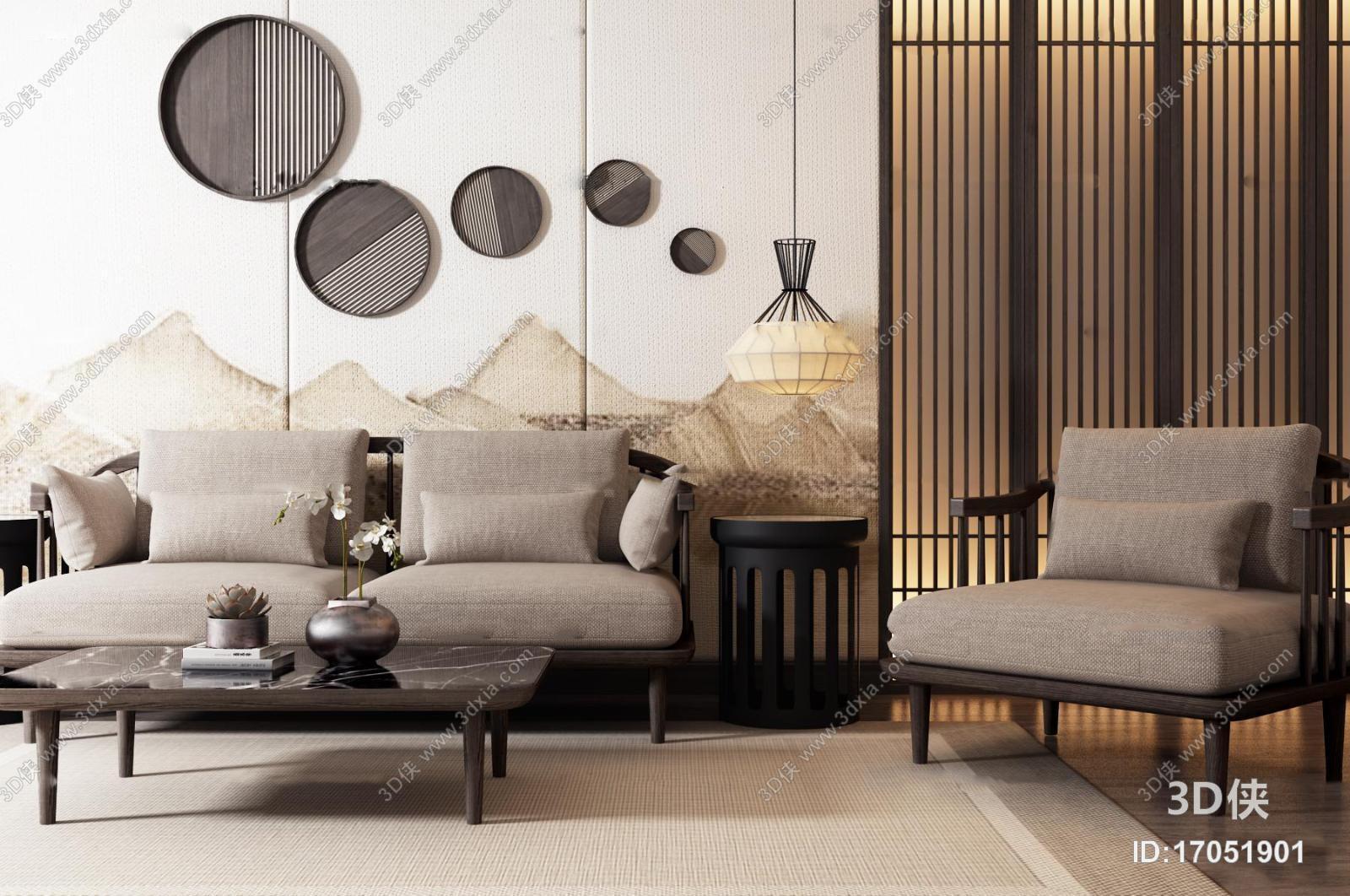 2012版本,建议使用3dmax 2012 软件打开,该中式风格组合沙发图片素材