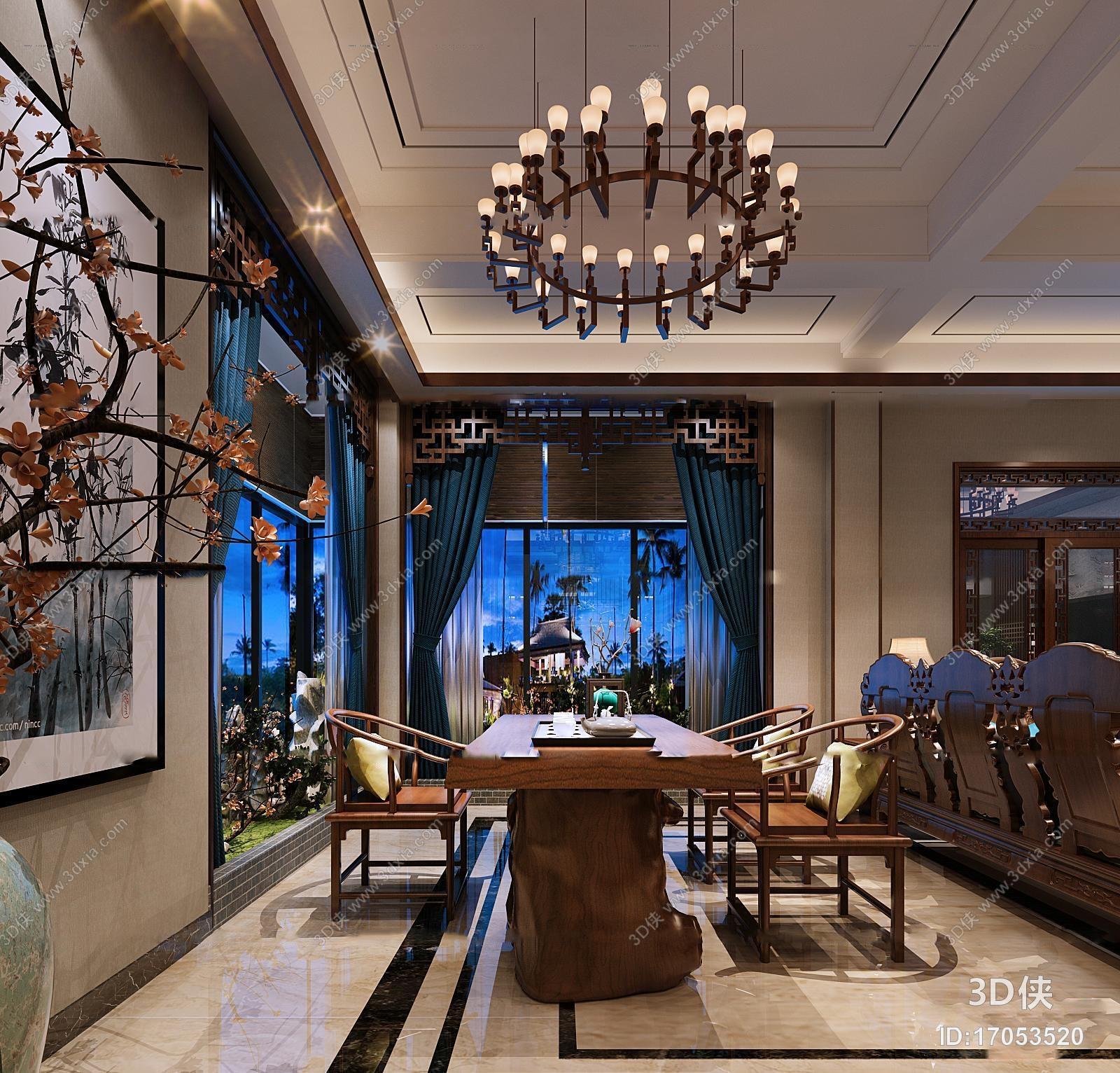 中式跃层客厅餐厅茶室组合3d模型【id:17053520】