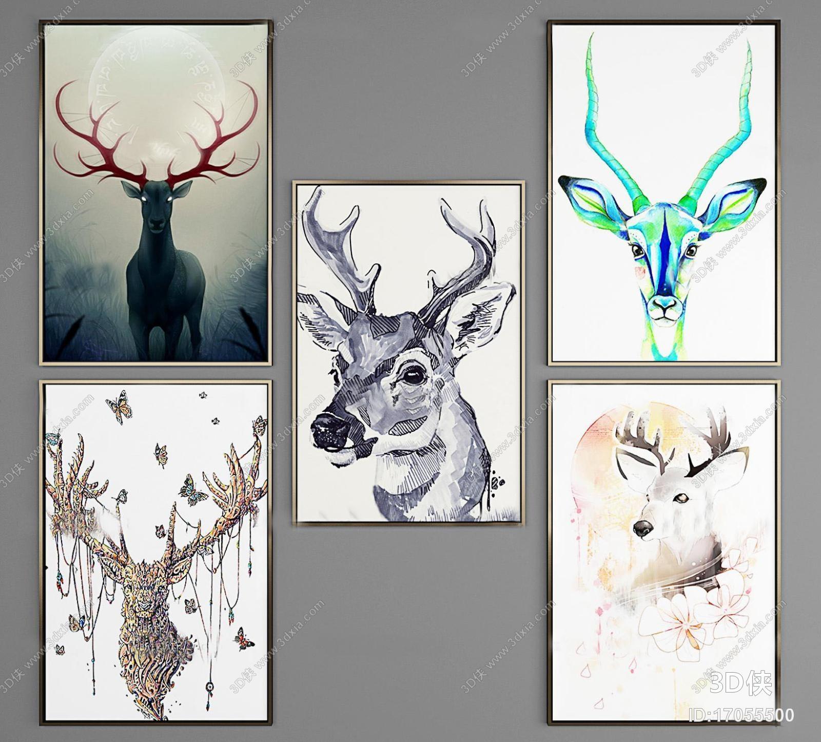 挂画效果图素材免费下载,本作品主题是北欧动物装饰画组合3d模型,编号