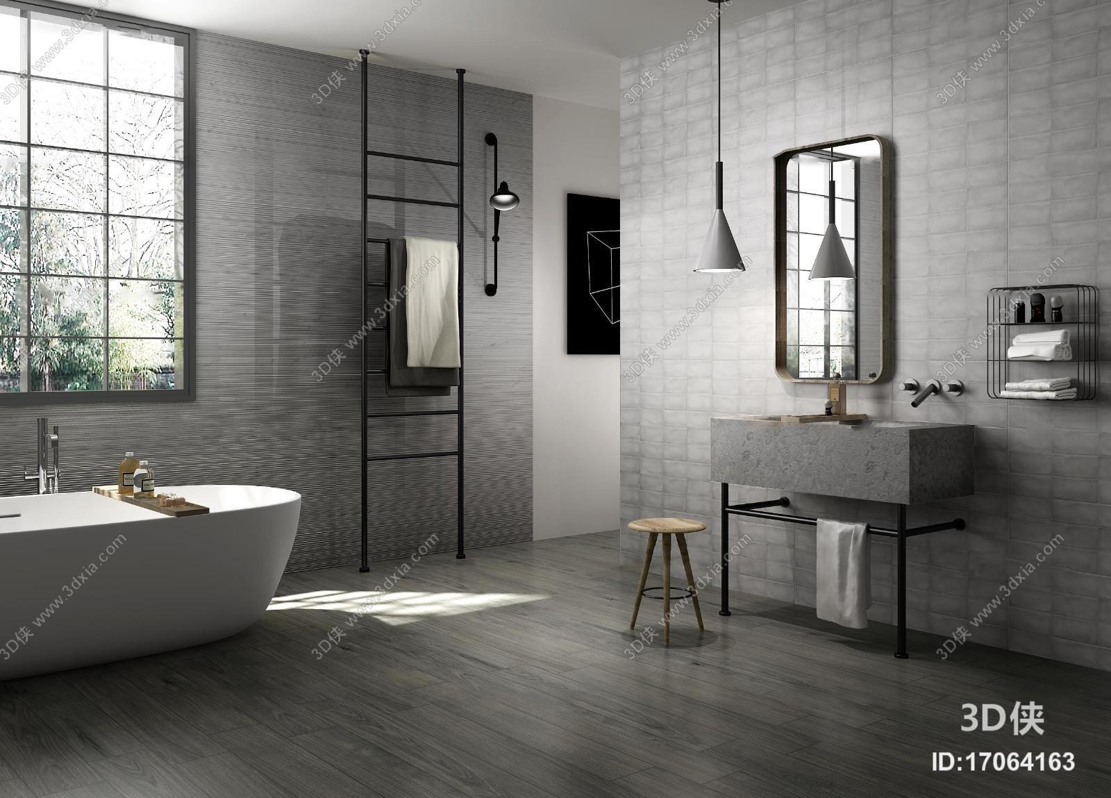 厨卫效果图素材免费下载,本作品主题是工业风卫生间浴室3d模型,编号是