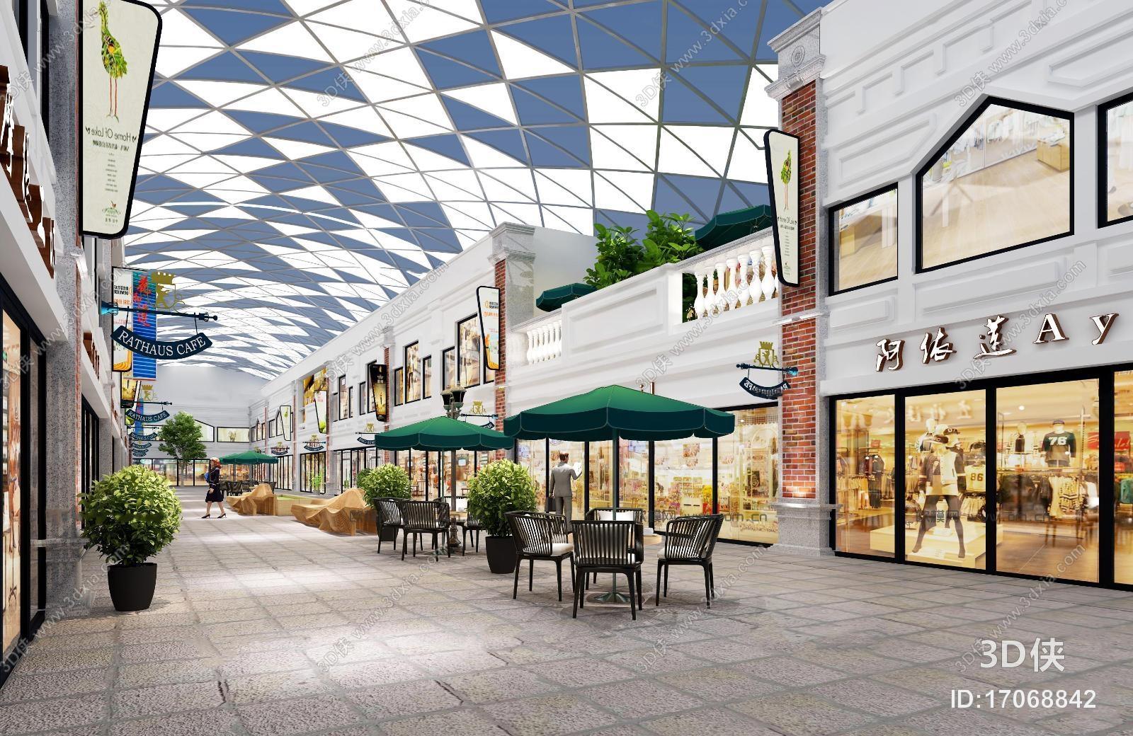 现代商业街建筑外观3D模型