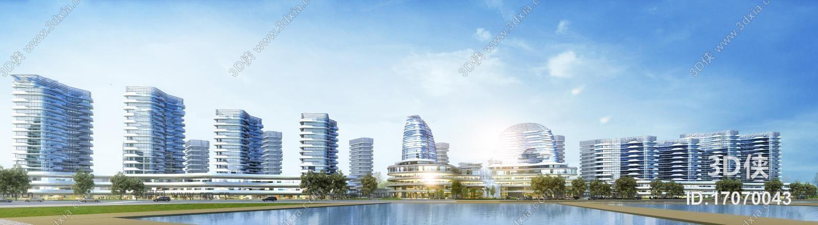 效果图素材免费下载,本作品主题是现代建筑外观3d模型,编号是17070043