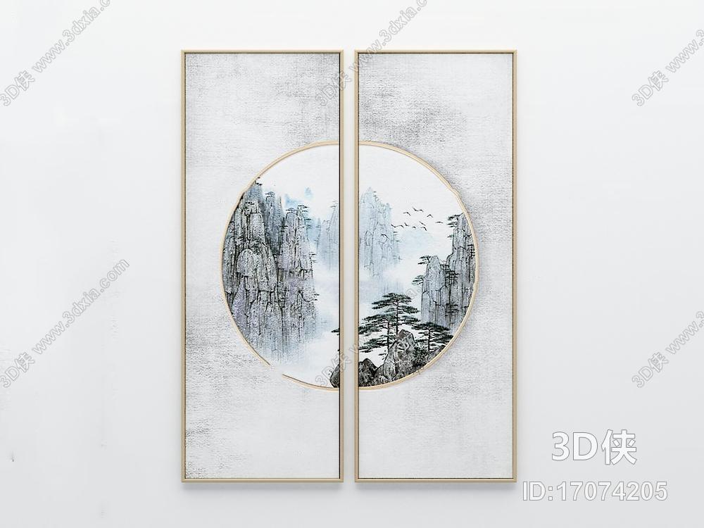 新中式山水画组合3d模型【id:17074205】