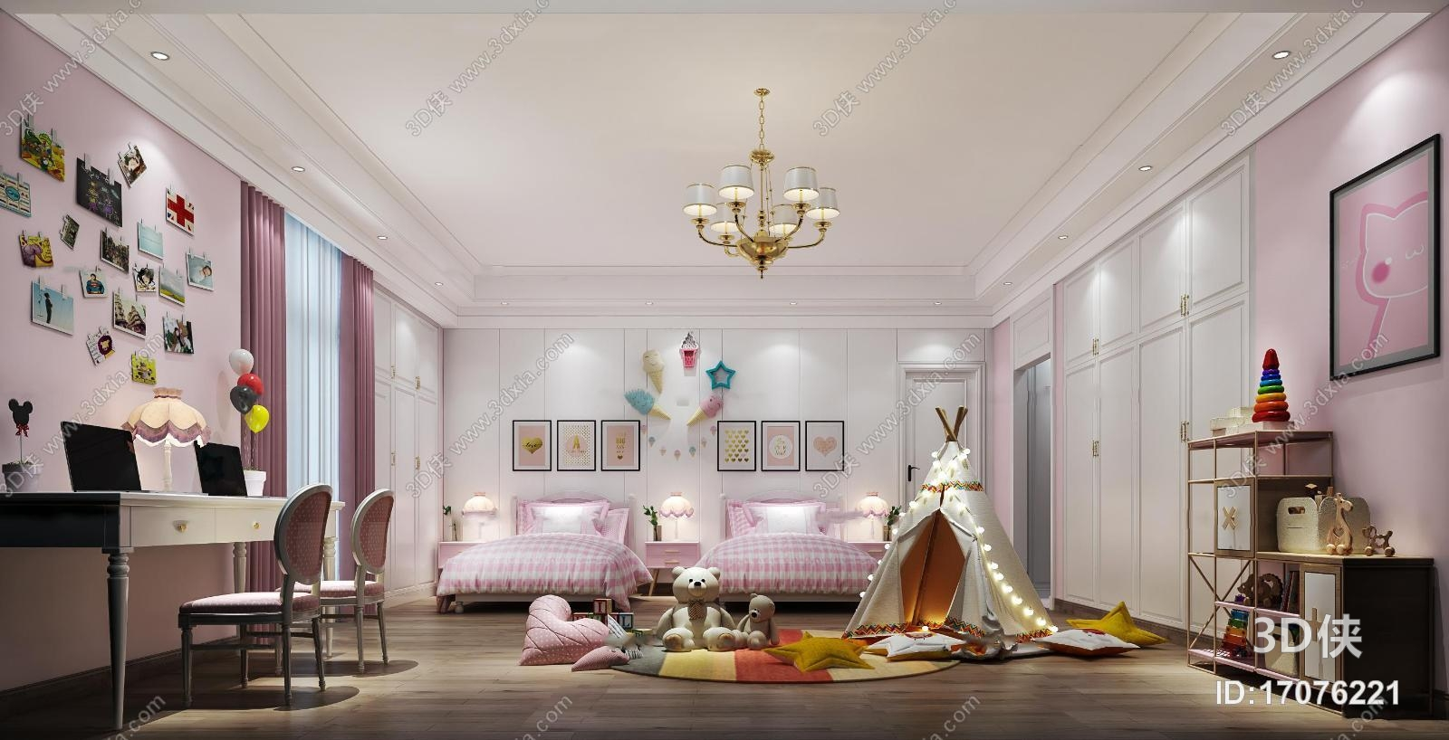 欧式儿童房卧室双人间3d模型【id:17076221】