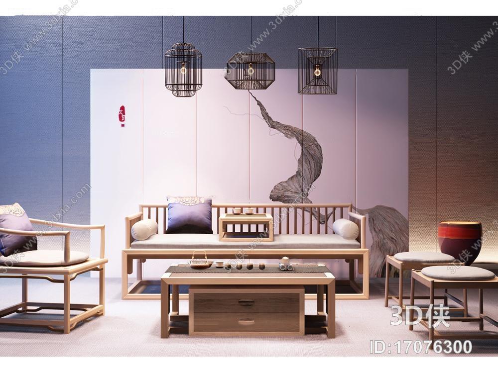 新中式实木沙发休闲椅茶几吊灯屏风组合3D模型