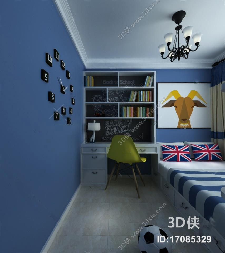 效果图素材免费下载,本作品主题是儿童房 3d模型 ,编号是17085329