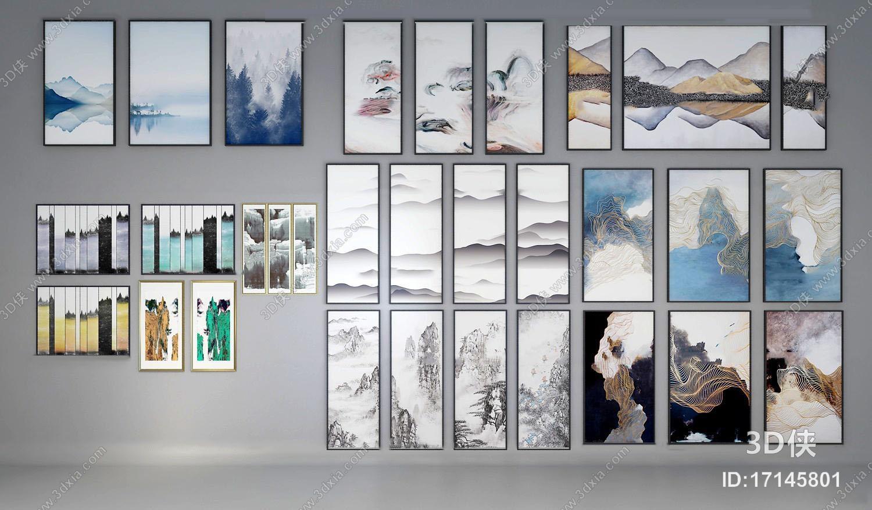 新中式山水装饰画组合3D模型