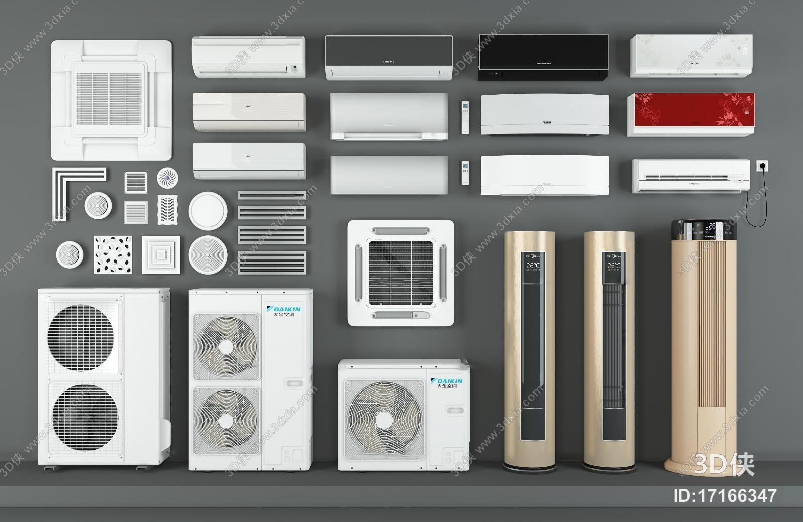 空调效果图素材免费下载,本作品主题是现代空调外机风口组合3d模型
