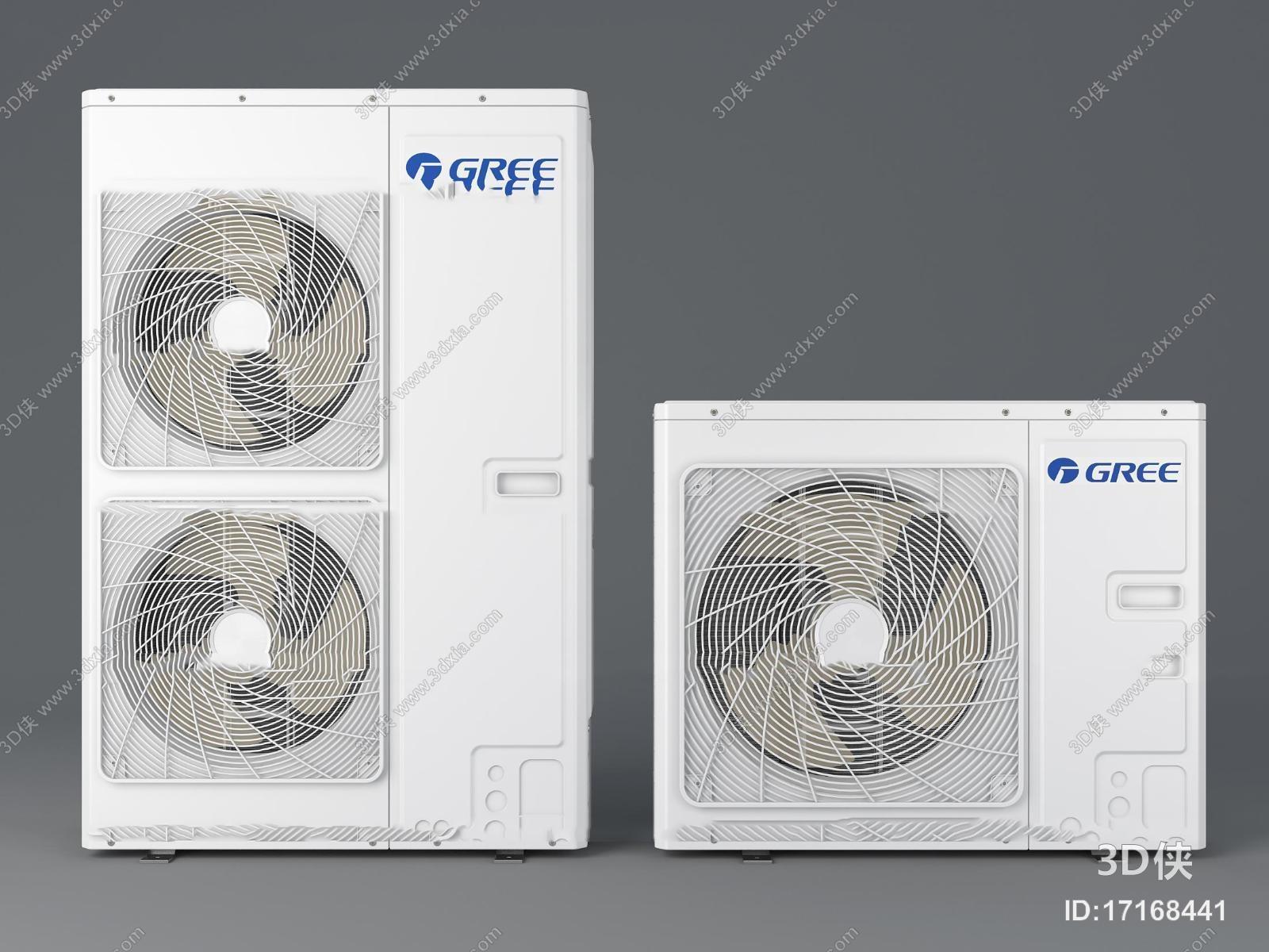 空调效果图素材免费下载,本作品主题是现代格力空调外机组合3d模型